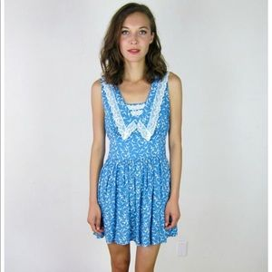Vintage lovely bird lace inlay dress xs/s
